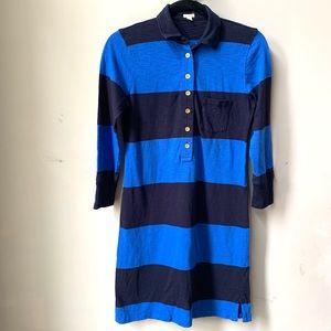 J Crew Long Sleeves Striped Blue Dress